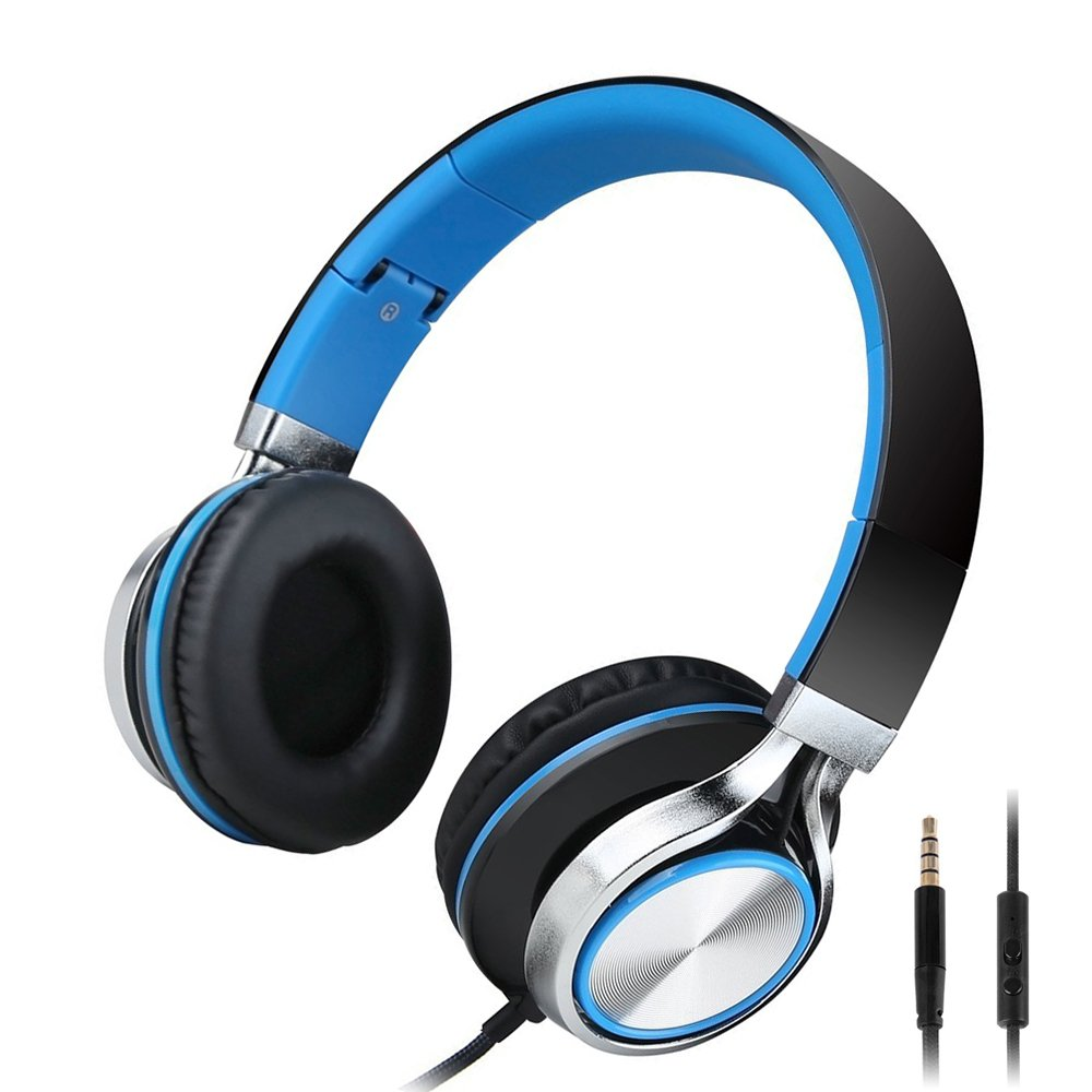 Kanen Wired Stereo Foldable Bass On-ear Headphones Over-ear Headsets Earphones with Microphone 3.5mm for Cellphones Smartphones iphone Laptop Tablet Mp4 Mp3 (Blue)