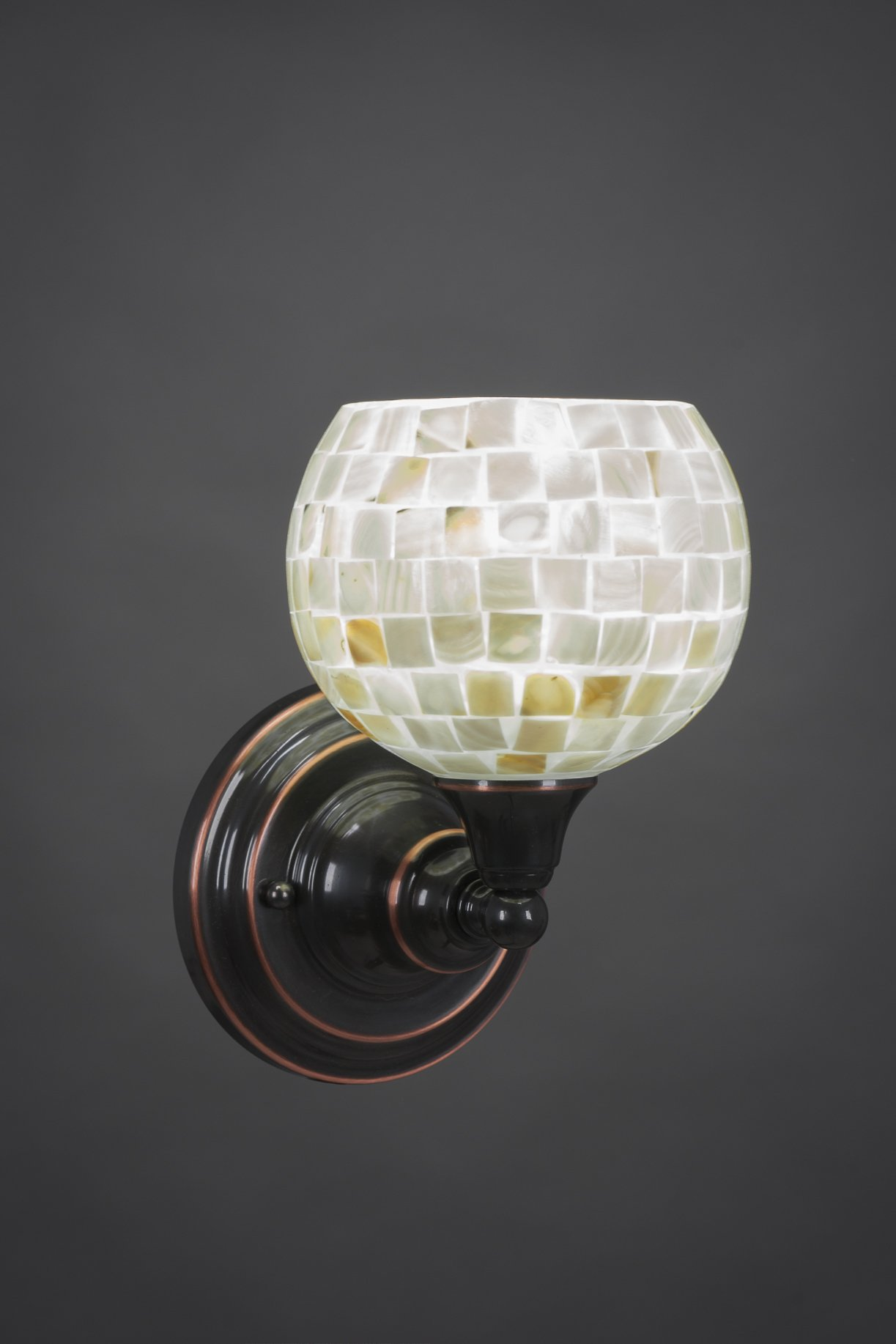 One Light Wall Sconce with Seashell Glass in Black Copper