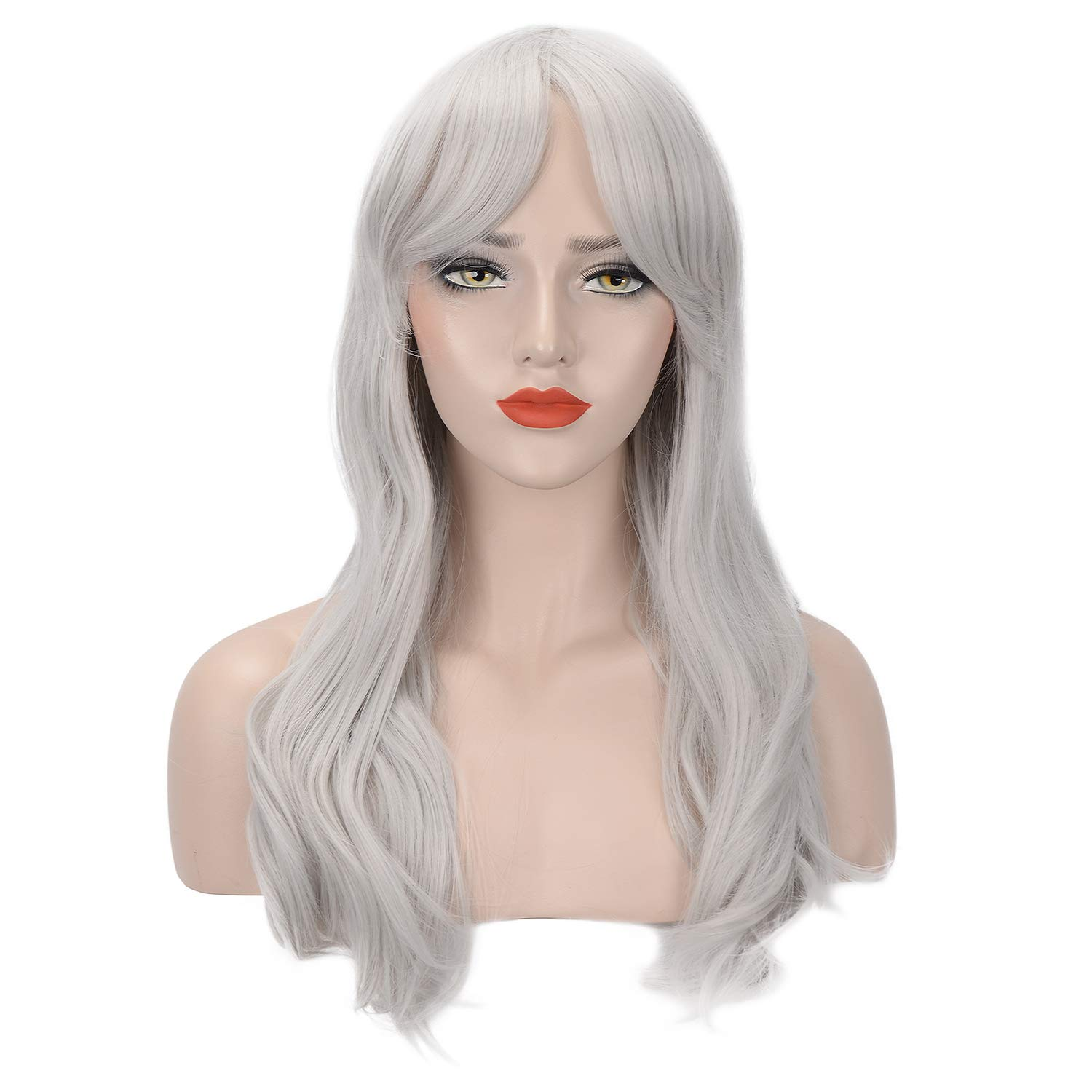 FESHFEN 20 Inch Synthetic Wigs with Bangs Silver Gray Natural Wave Curly Heat Resistant Wig for Women Girl Daily/Party/COSPLAY