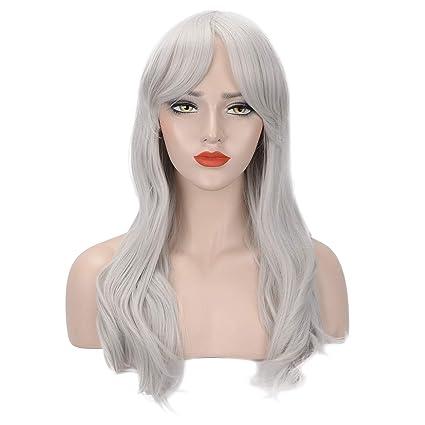 Feshfen grigio argento parrucche  Amazon.it  Bellezza cb8502f76ab6