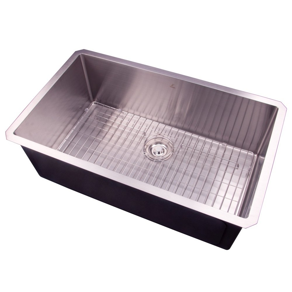 30 Undermount Single Bowl Handmade Stainless Steel Deep Basin Kitchen Sink with Grid and Strainer,S3018