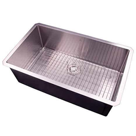 30 Undermount Single Bowl Handmade Stainless Steel Deep Basin Kitchen Sink With Grid And Strainer S3018