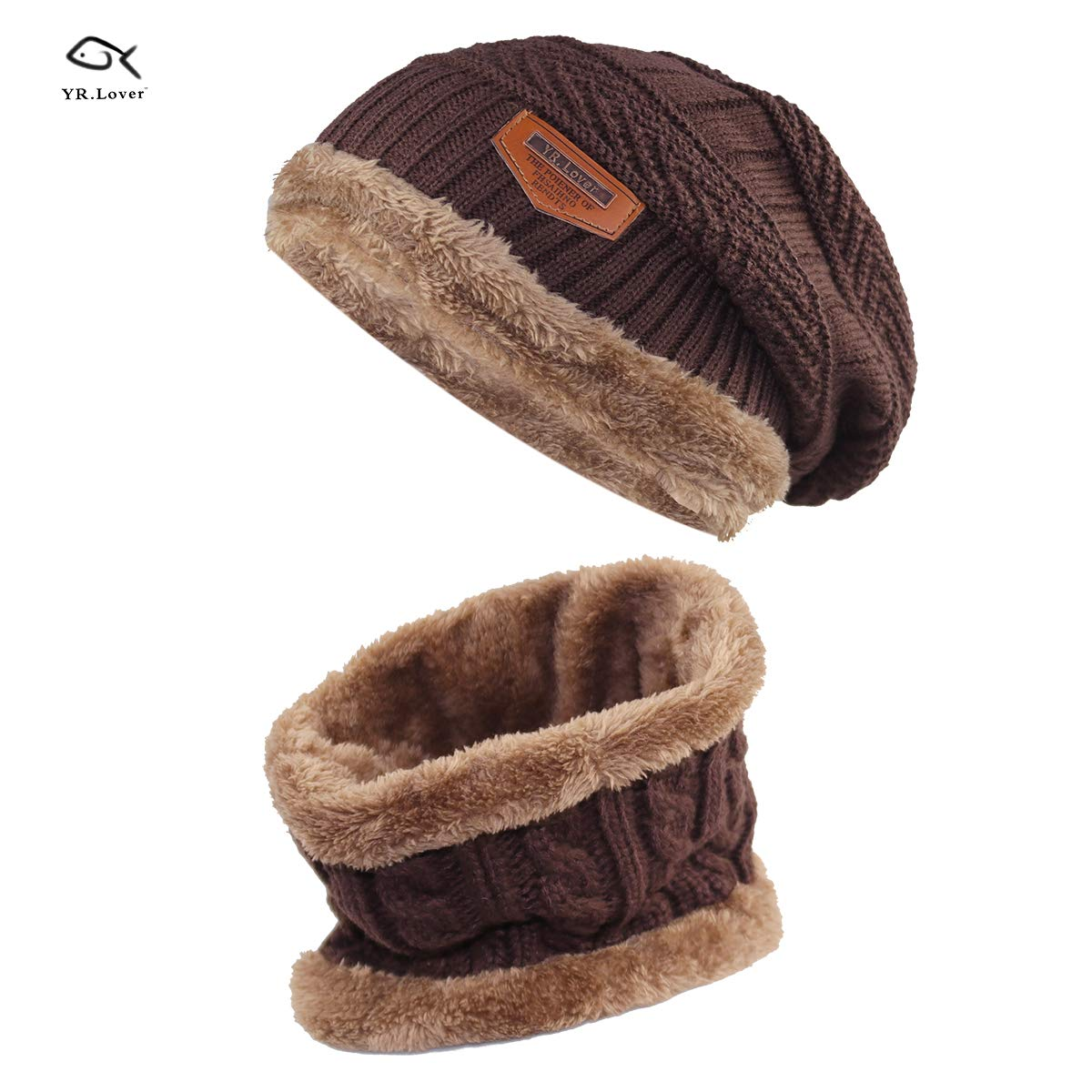 Kids Winter Warm Hat Scarf Knitted Hat with Soft Fleece Lined Beanie Cap.YR.Lover