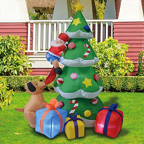7 Foot Christmas Inflatables Tree, Airblown Inflatable Santa Claus Climbing Tree Chased by Puppy Dog, Lighted for Home Outdoor Yard Lawn Decoration
