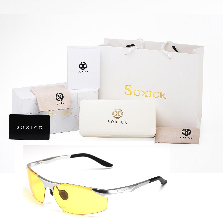 081fd09636 SOXICK Mens HD Polarized Night Driving Glasses Anti Glare Safety Glasses  Professional HD Night Vision Glasses ...