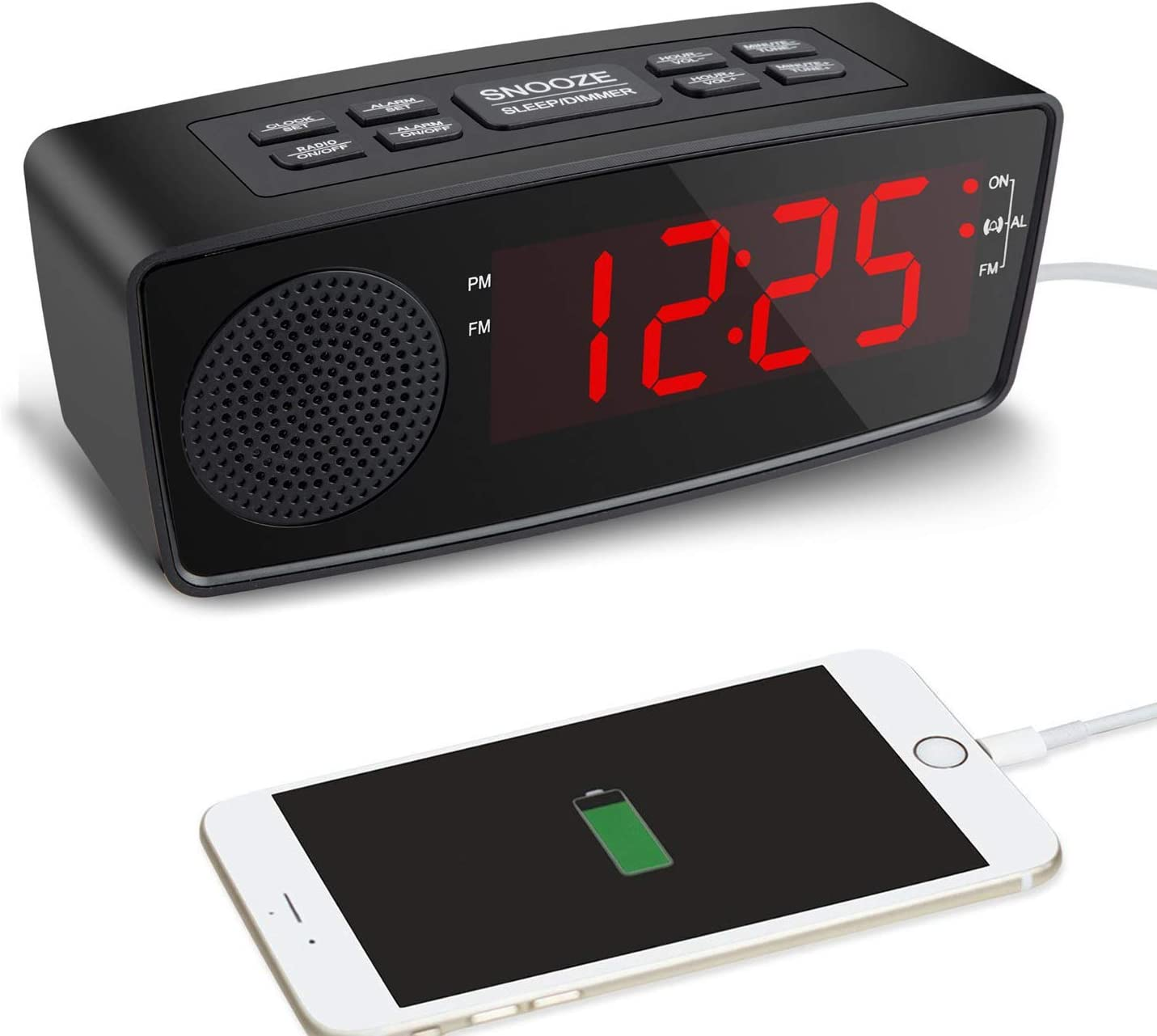 Clock Radio, Alarm Clock with FM Radio, USB Charging Ports for Bedrooms