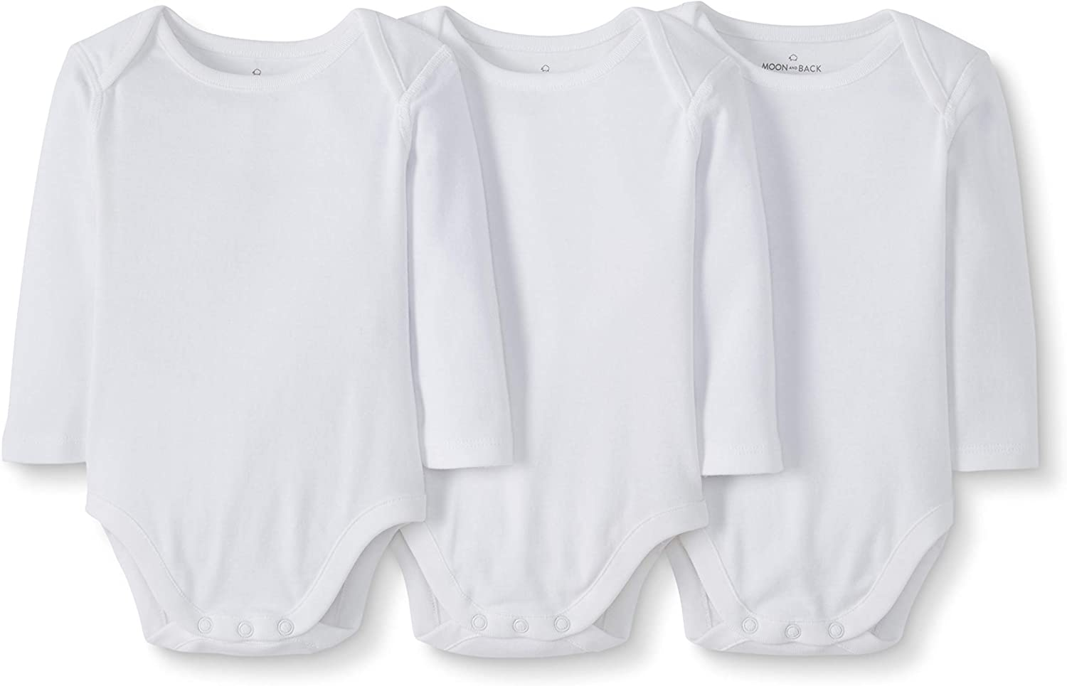 Moon and Back Unisex Kids 3 Pack Long Sleeve Bodysuit