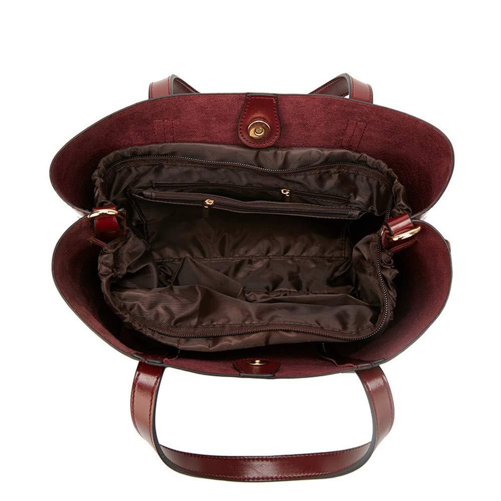 ZJDECR handväska väska mode handväskor Europa och USA trend damhandväskor enkel axelväska 31x14x24 cm handväska (färg: Mörkblå) Vinrött