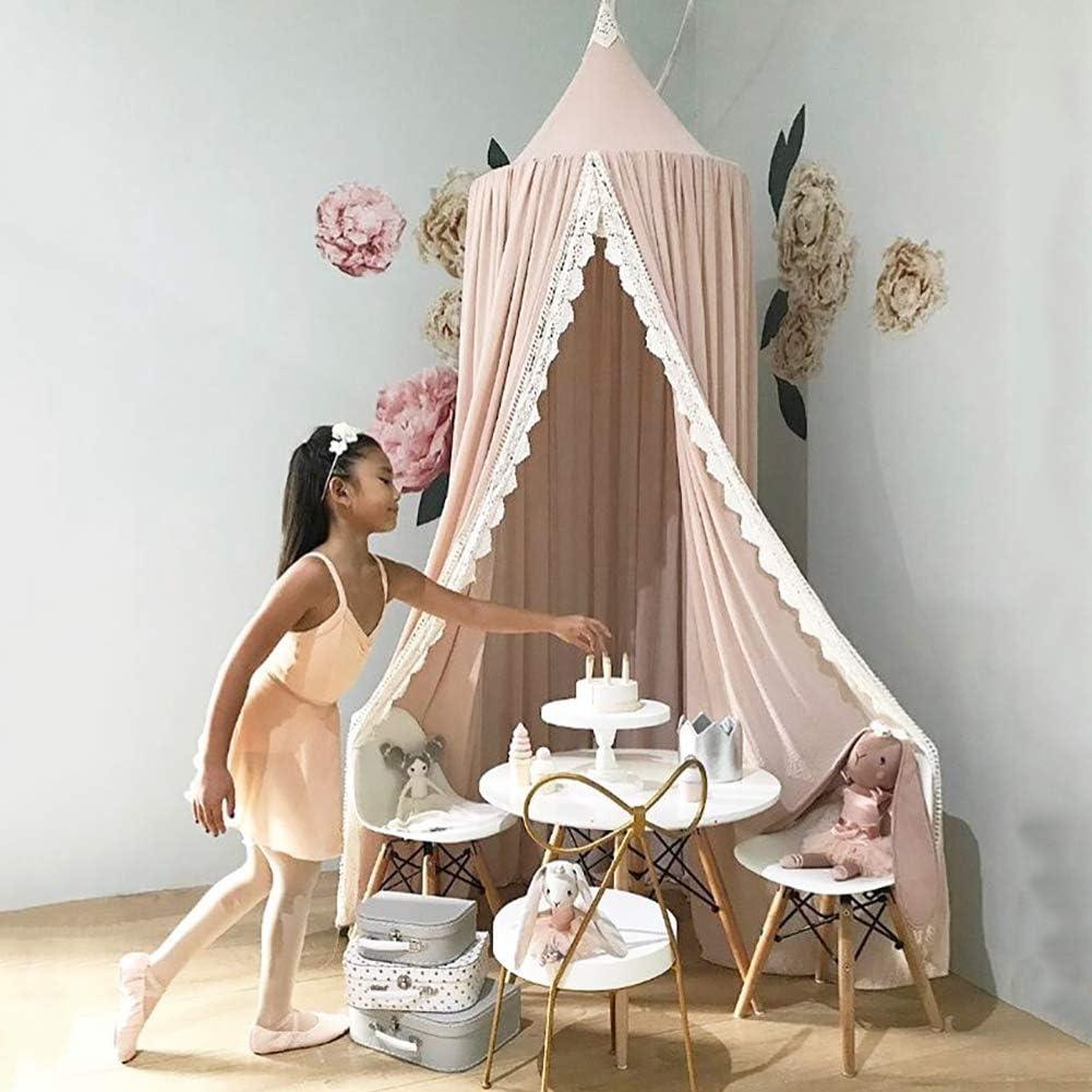 en Mousseline,50 * 240cm,Rose Salle de Lecture Pour D/écoration de Chambre /à Coucher pour les Enfants Moustiquaire pour B/éb/é Ciels de Lit pour Enfant