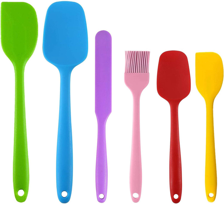 Spatel Silikon K/üchenhelfer EasyULT Silikon Spatel Backpinsel 6 St/ück K/üchenhelfer Utensilien Sets Silikon Spatel zum Backen oder Kochen Lebensmittel Silikon