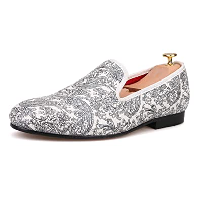 74d102bb0b8 HI HANN Paisley Prints Men s White Casual Loafer Shoes Slip-on Loafer Round  Toes Smoking Slipper