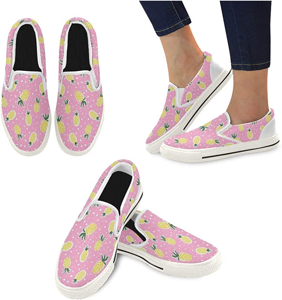 Vosda Pink Water Pineapple Tree Classic Women Canvas Slip-Ons Loafer Shoes Sneaker