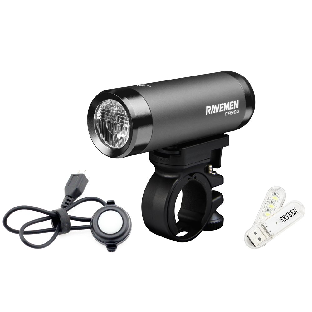 SKYBEN Ravemen CR300 USB Rechargeable Bike Front Light Max 300 Lumens 6 Lighting Levels Automotive LED Remote Cycling Headlight with USB Light