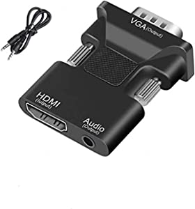 HDMI to VGA Adapter Converter,KLJ HDMI Female (Input) to VGA Male (Output) Adapter with 3.5mm Jack Stereo Audio-Plug and Play