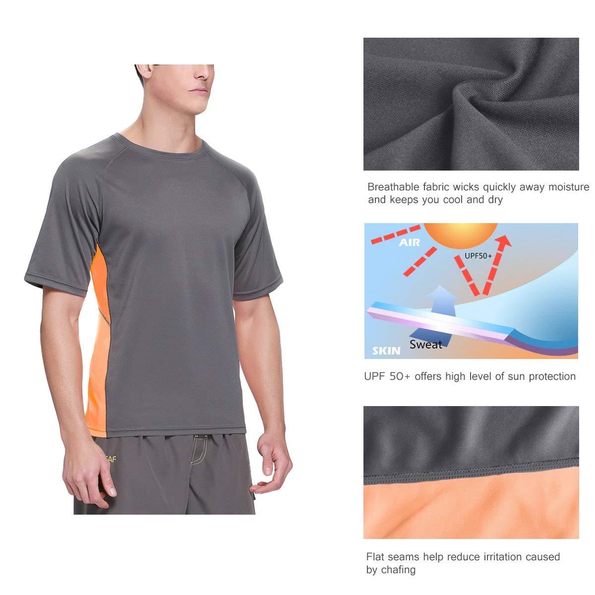 Baleaf Men's Short Sleeve Sun Protection Rashguard Swim Shirt UPF 50+ Dark Grey M by Baleaf (Image #5)