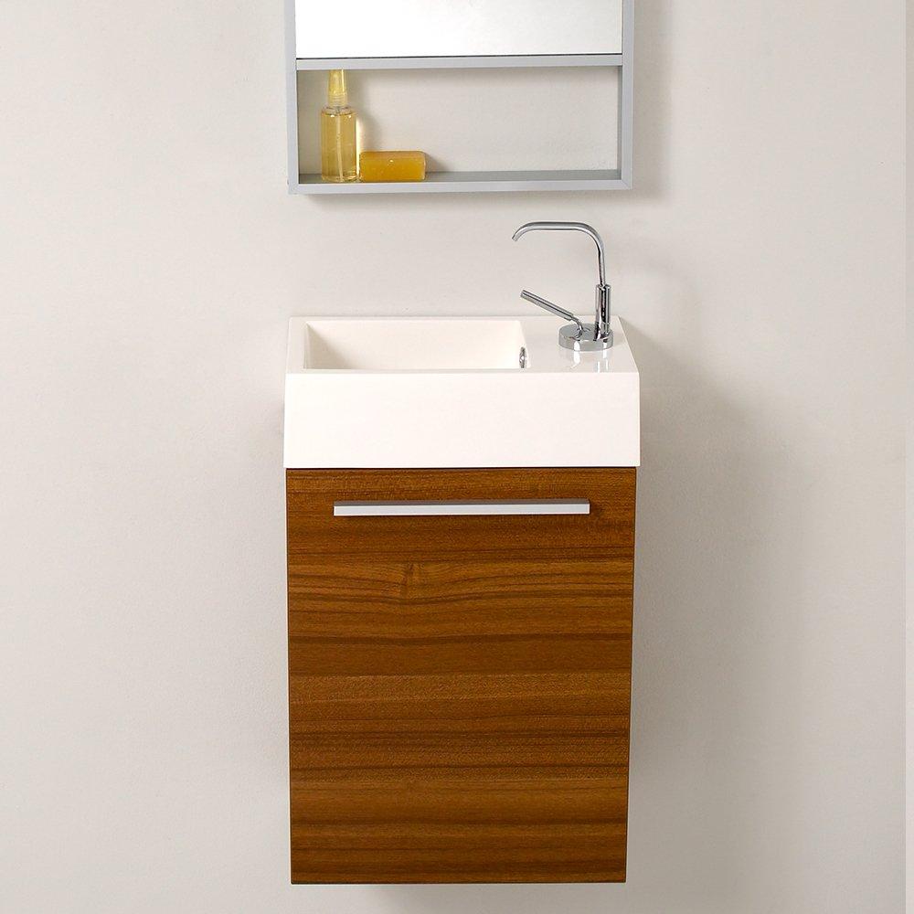 Teak bathroom cabinet - Fresca Bath Fvn8002tk Pulito Small Vanity With Tall Mirror Teak Amazon Com