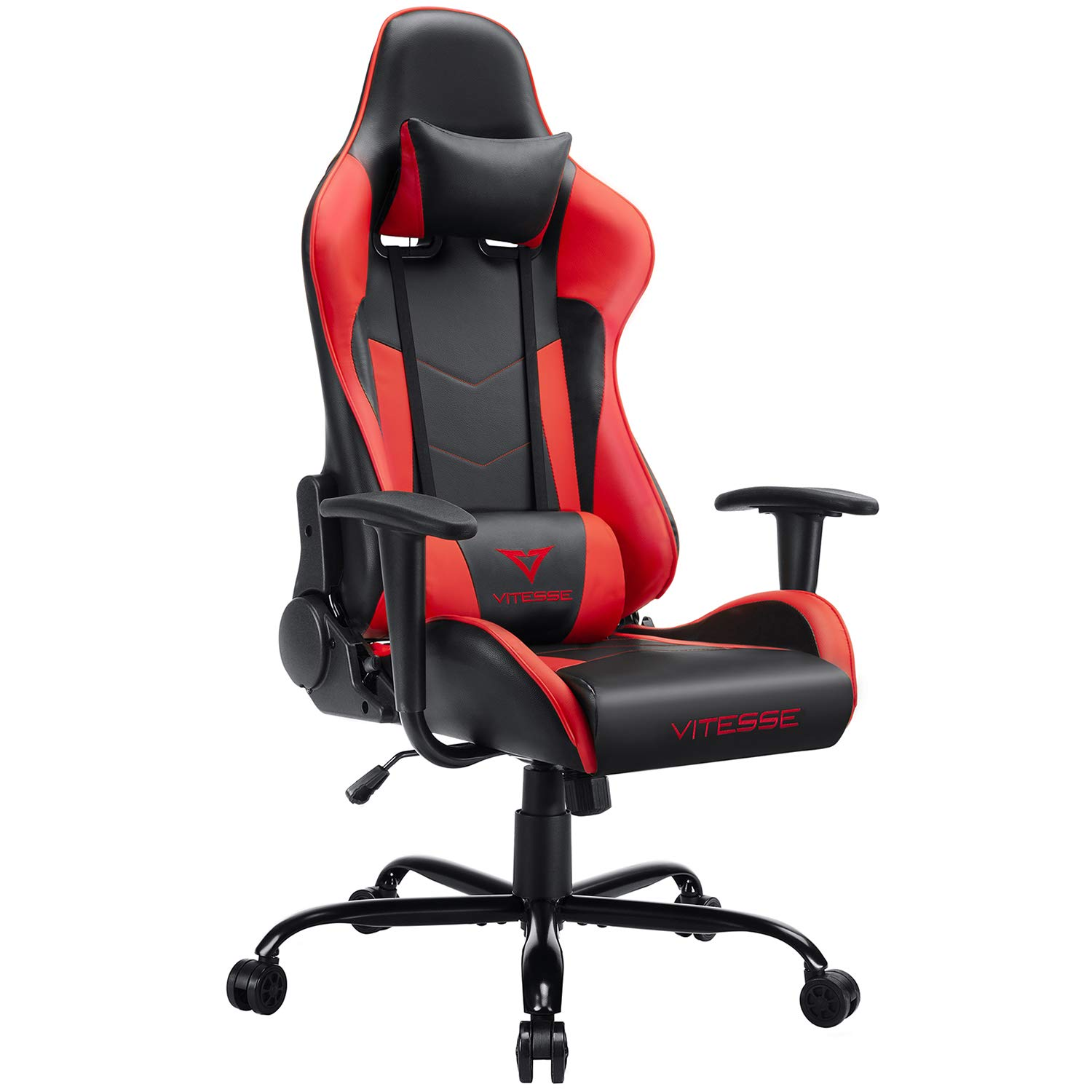 Vitesse Gaming Chair Sillas Gaming Video Gaming Chair Ergonomic Computer Desk Chair High Back Racing Style Comfortable Chair Swivel Executive Leather Chair with Lumbar Support and Headrest Red
