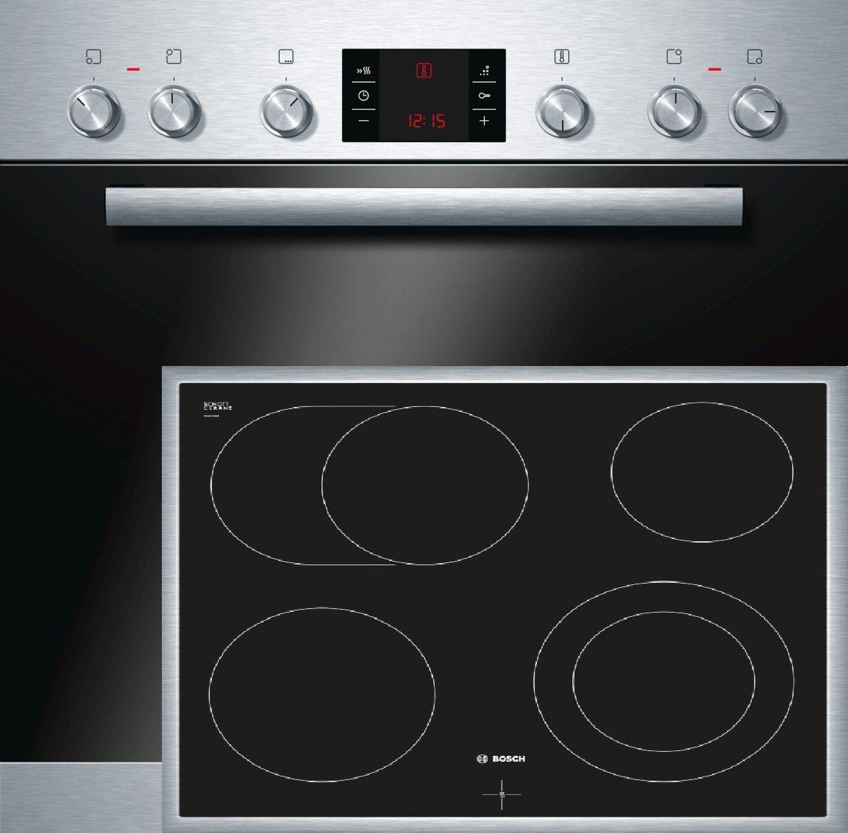 Bosch HND52PS50 Backofen-Kochfeld-Kombination / A / 66 L / 3D Heißluft Plus / 1 Zweikreis-Kochzone / edelstahl [Energieklasse A]