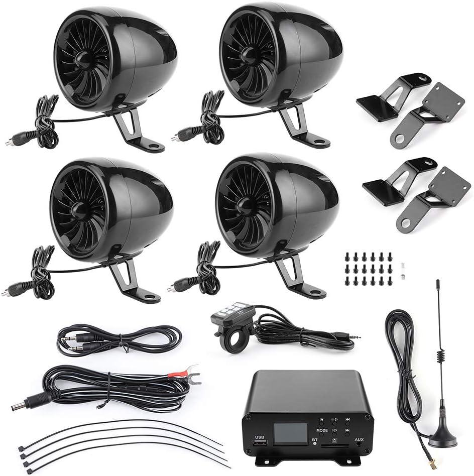 Altavoz para motocicleta, amplificador Bluetooth impermeable de 1000 W, audio estéreo, 4 altavoces, sistema de radio FM MP3 para motocicletas/ATV/UTV/barco