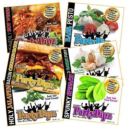 (PartyDipz 6-Pak Gourmet Dip Mixes Party Pak- Bacon CheeseBurger, Heavenly HotWings, Basil Pesto, Fire-Roasted Garlic Fury, Holy Jalapeno & Spunky Spinach- Great Gift Idea)