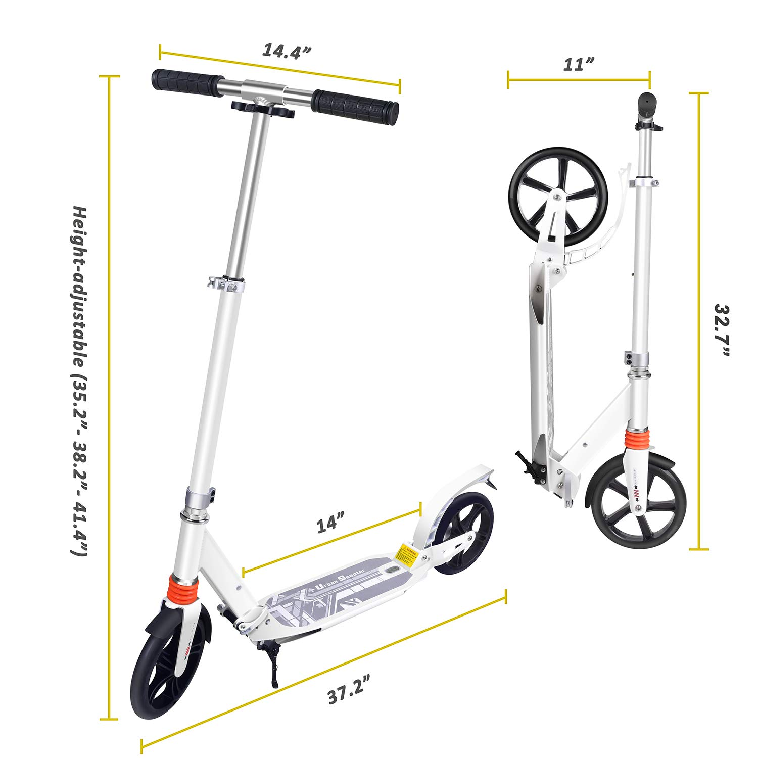 TABKEER Scooter for Adults Teens Aluminum Alloy Foldable Adult Scooter Adjustable Height Handlebars and Kickstand with 8 inches Big Wheels Lightweight Scooters Gift for Family