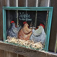 Chickens Drinking Coffee,Welcome to our home sign, porch decor
