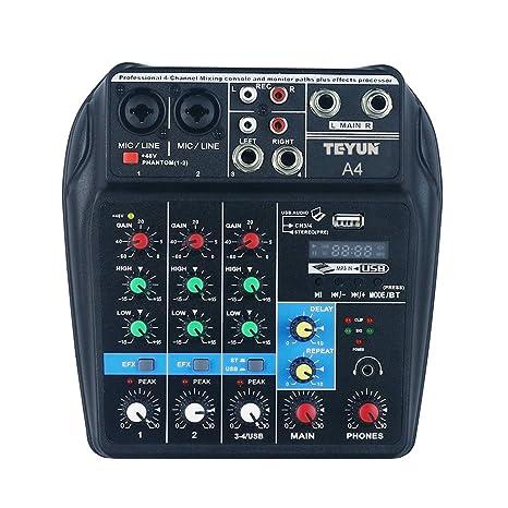 Lilideni Consola de Mezcla de Sonido BT de 4 Canales portátil Mezclador de Audio Digital Efectos de reverberación incorporados para la grabación de la ...