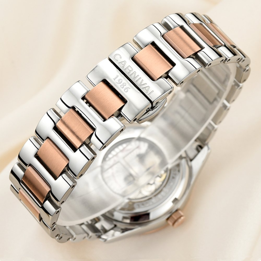 CARNIVAL Couple Watches Men and Women Automatic Mechanical Watch Fashion Chic for Her or His Set of 2 (Rose Gold Black) by Carnival (Image #9)