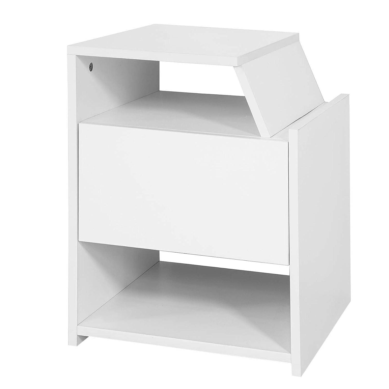 SoBuy FRG261-W,Comodino letto design, tavolino da salotto o soggiorno, con cassetto e Portariviste,bianco