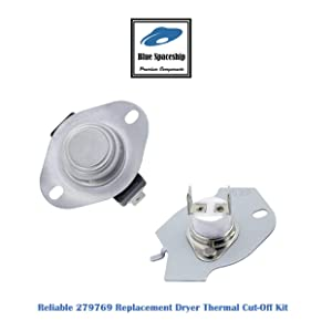 Reliable 279769 Dryer Thermal Cut-Off Kit Replacement Part Fit for Whirlpool, KitchenAid, Roper, Estate Dryers- 1 set/pack, Replace part No. 3977394 3398671 3389946 AP3094224 695563 3390291