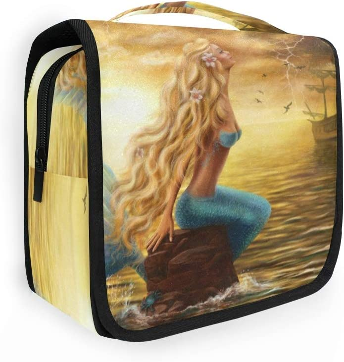 XIXIKO Ocean Sea Animal Sirena Yate Colgante Neceser Viaje Lavado Bolsa Organizador Plegable Cosmético Maquillaje Bolsa Para Mujeres Niñas Señora