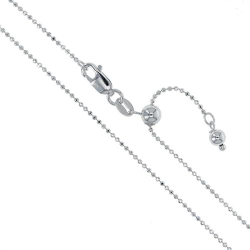 e774f599ed6ca Amazon.com: Rhodium Plated Sterling Silver Adjustable Diamond-Cut ...
