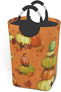 Collapsible Laundry Baskets Happy Thanksgiving Day Pumpkin Maple Leaf Harvest Large Dirty Laundry Hamper Colapsable Collaspable Calaspable Fold Dorm Fabric Laundry Basket For Baby Girl Kids Clothes Ca