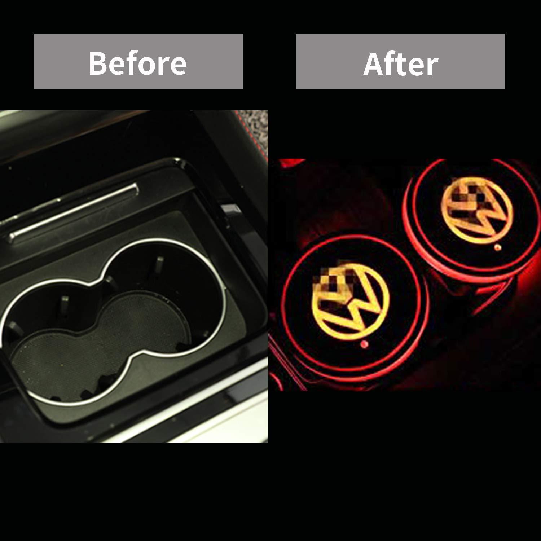 CNBGR Porte-Gobelet LED sous-Verre Lumineux VW Imperm/éable /À leau Mini Lumi/ère Rechargeable USB Int/érieur De Voiture Int/érieur Atmosph/ère