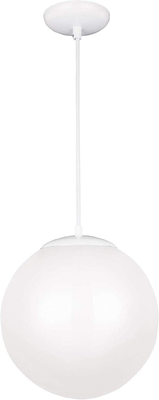 Sea Gull Lighting 6020-15 Leo Globe One-Light Pendant Hanging Modern Fixture, White Finish