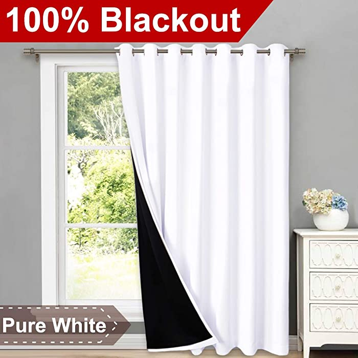 """NICETOWN Full Shading Curtains for Patio Door, Super Heavy-Duty Thermal Backing Sliding Glass Door Drape with Silver Grommet, Privacy Assured Window Treatment(1 Panel, 100"""" W x 84"""" L, Pure White)"""