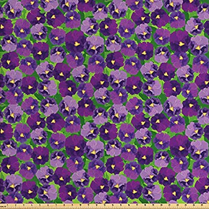 Image of Ambesonne Botanical Fabric by The Yard, Green Field Full of Burgeoning Pansy Inflorescence Garden Flourish Bedding Plants, Decorative Fabric for Upholstery and Home Accents, 10 Yards, Multicolor Home and Kitchen