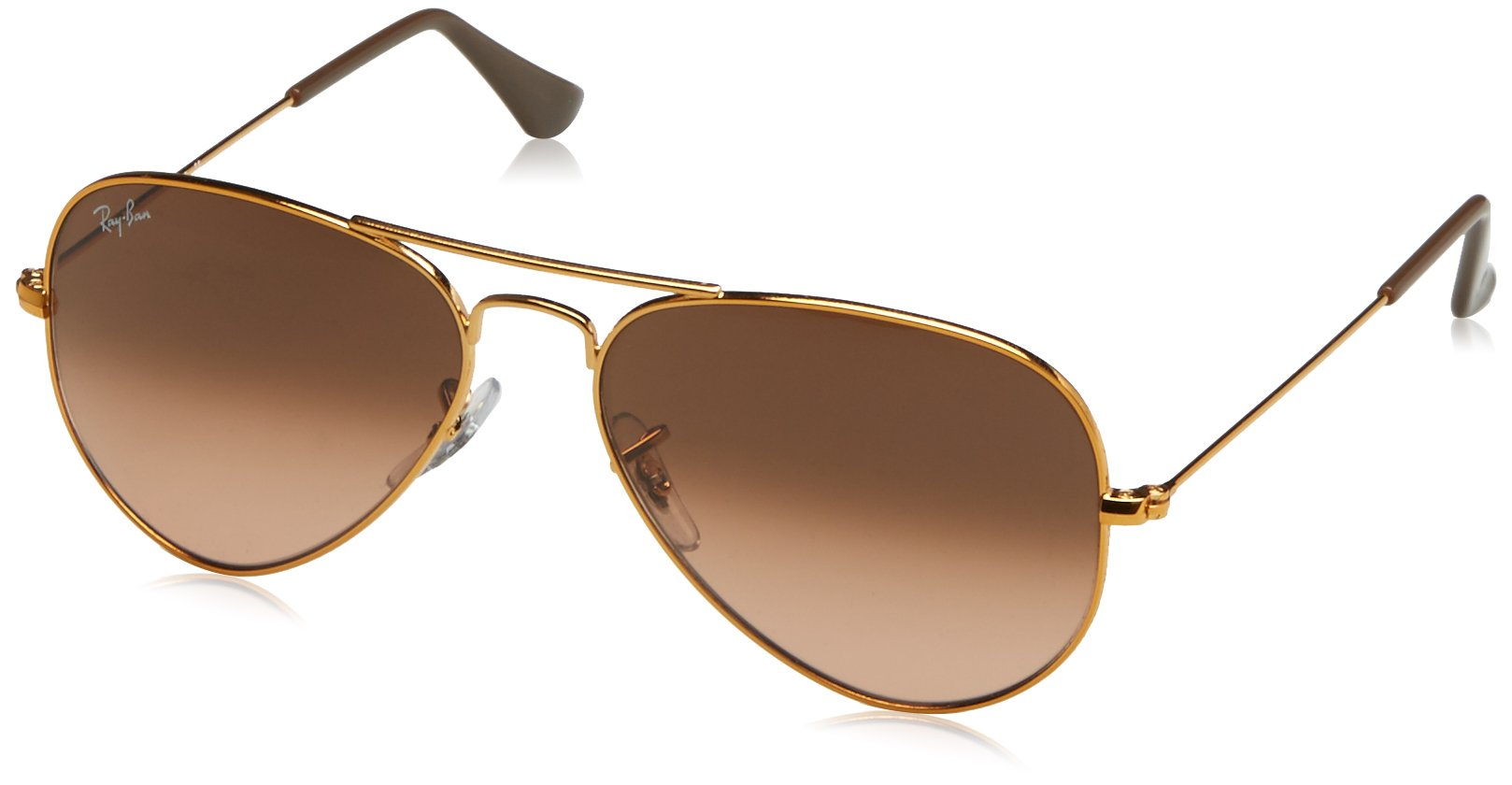 RAY-BAN RB3025 Aviator Large Metal Sunglasses, Shiny Light Bronze/Pink Gradient Brown, 55 mm by RAY-BAN