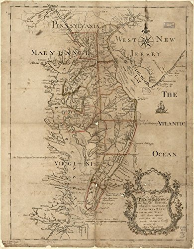 Vintage 1786 Map of To the American Philosophical Society, this map of the peninsula between Delaware & Chesopeak bays, with the said bays and shores adjacent drawn from the most accurate surveys is humbly inscribed by John Churchman. Chesapeake Bay, Delmarva Peninsula, Maryland, United States, Virginia