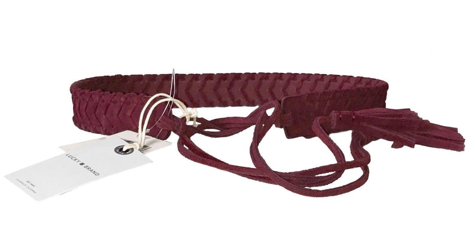 Lucky Brand Women's -Braided Suede Tassel Tie Belt (M/L, Burgundy Red)