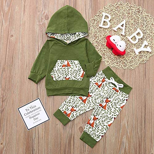 Wenjuan Newborn Baby Pocket Leaves Tops Sweatshirt Hooded Fox Print Pants Tracksuit Set