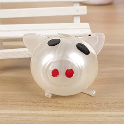 1Pc Jello Pig Cute Anti Stress Splat Water Pig Ball Vent Toy Venting Sticky Pig (White): Beauty