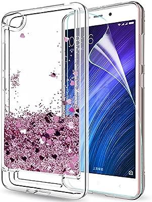LeYi Funda Xiaomi Redmi 4A Silicona Purpurina Carcasa con HD Protectores de Pantalla, Transparente Cristal Bumper Telefono Gel TPU Fundas Case Cover ...
