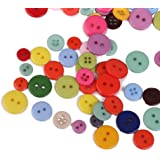 ノーブランド品 200個 キッズ 樹脂製 詰め合わせ 丸型 ボタン サイズミックス カラフル 裁縫