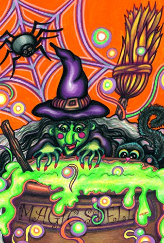 Toland Home Garden Magic Spell 28 x 40 Inch Decorative Colorful Halloween Witch Cauldron Cat Spider House -