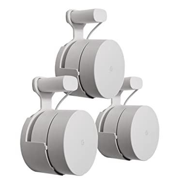 Dot Genie Google WiFi Outlet Holder Mount: [Original and Best] USA Made - The Simplest Wall Mount Holder Stand Bracket for Google WiFi Routers and Beacons - No Messy Screws! (3-pack)