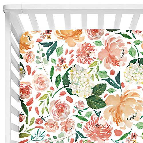 Baby Floral Fitted Crib Sheet for Boy and Girl Toddler Bed Mattresses fits Standard Crib Mattress 28x52 (Secret ()