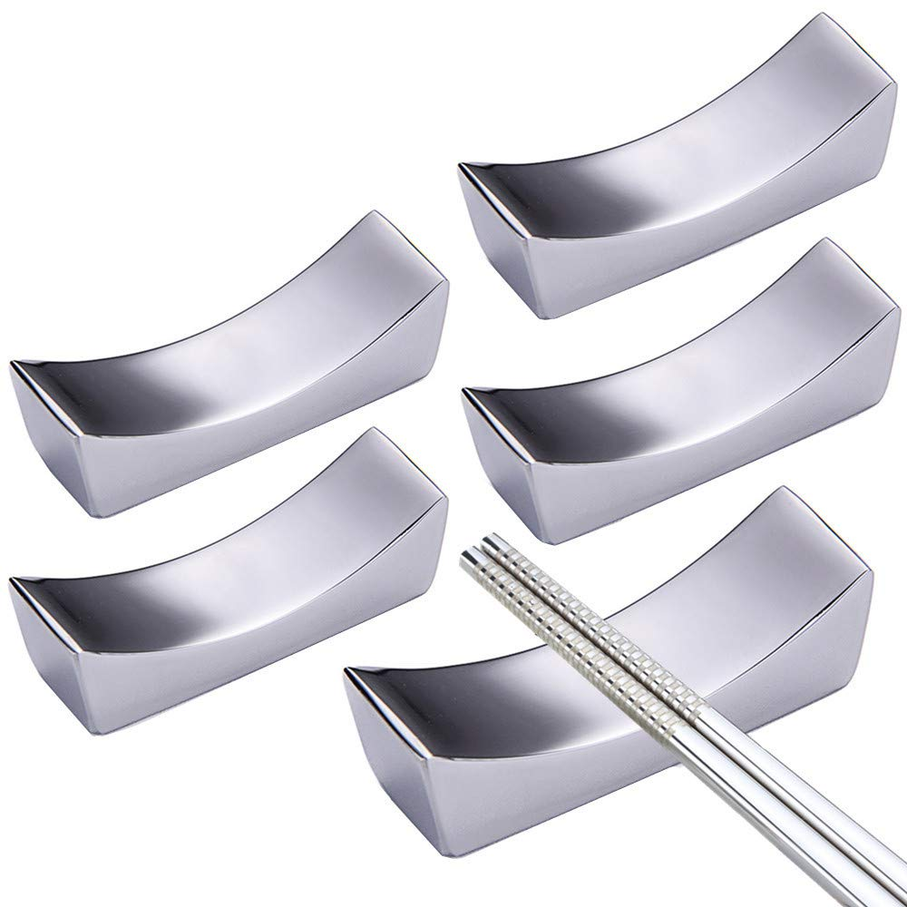 LIUNA Spoon Rests Stainless Steel Chinese Chopstick Rest Traditional Irregular Square Chopsticks Holder Rack Frame Kitchen Tools 5 Pack 輸入品