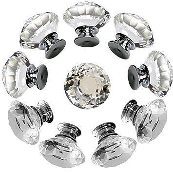 Perillas de cristal MAIKEHOME 10 X 30 MM de cristal acr/ílico Puerta de gabinete de corte de diamantes Perilla de caj/ón de la cocina Aparador Armario Tirador con tornillos para la decoraci/ón del hogar