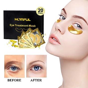 20 pairs Máscara para los ojos,Eye Mask Collagen,24K Máscara para ojos de colágeno,Anti-envejecimiento, Máscaras Antiarrugas para Los Ojos,Reduce Las ...